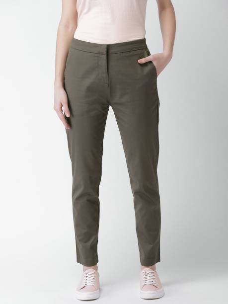 MAST & HARBOUR Slim Fit Women Grey Trousers