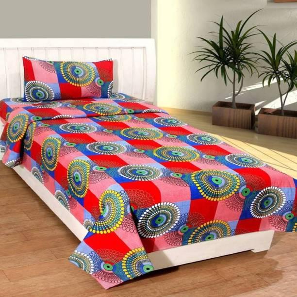 COTTON VILLAS 144 TC Cotton Single Self Design Bedsheet