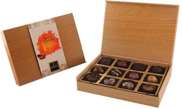 Zoroy Luxury Chocolate Happy Diwali Wooden Box of 12 chooclate praines Fudges