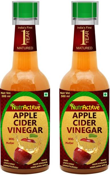 NutrActive 1 Year Matured Apple Cider Vinegar with Extra Mother 1000 ML | Better Digestion Vinegar