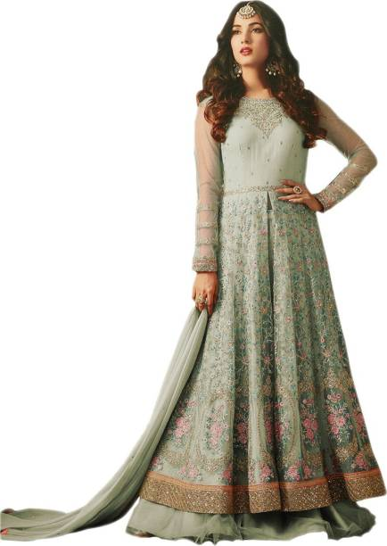 Sa Kart Net Embroidered Semi Sched Salwar Suit Tta Material