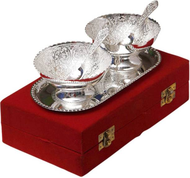 Adiidev Pack of 5 Silver Plated Silver Plated Brass Bowl With Tray Set Of 5 Pcs Dinner Set
