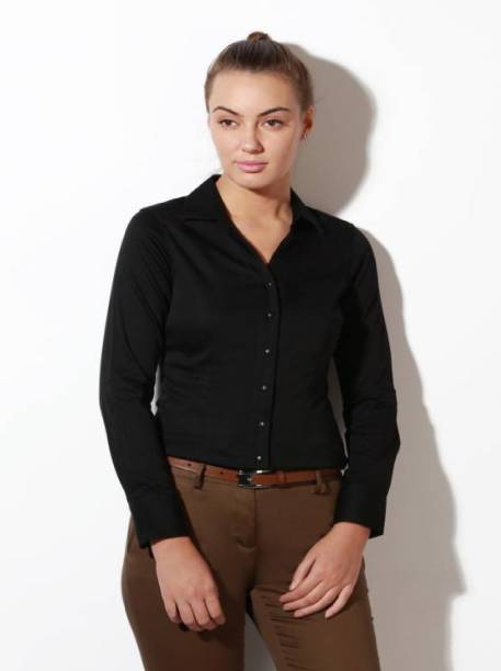 47f2a74826a10 ItkiUtki Women Solid Formal Black Shirt