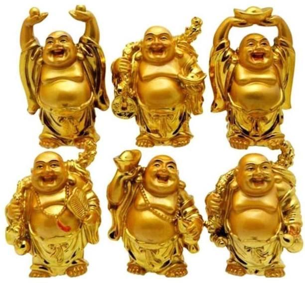 RUDRA DIVINE Rudra Divine Shui/Vastu Feng Shui Golden Set of Laughing Buddha 6 Pc Set, for Wealth and Success for Diwali Gift Decorative Showpiece  -  7 cm