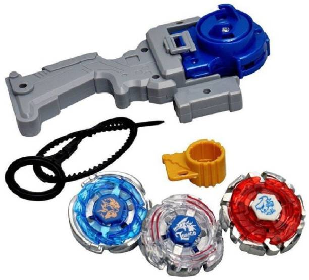 ALIVE 3 in 1 Beyblades 4D System Metal Fighters Fury with Metal Fight Ring and Handle Launcher Toy - Multicolor (Multicolor)