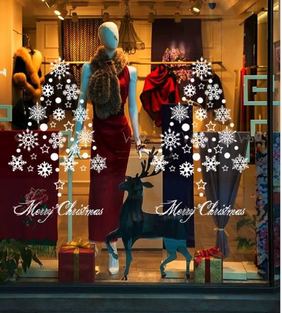 Jaamsoroyals Small White Stars Snowflake Merry Christmas Window Wall
