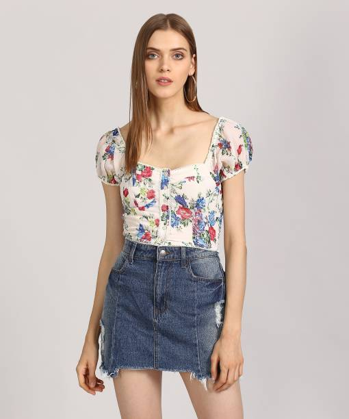 912d8fe8916 Forever 21 Casual Puff Sleeve Floral Print Women s White