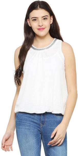 Allen Solly Casual Sleeveless Solid Women s White Top bc8c5a4e0