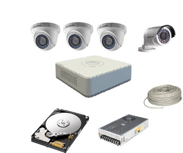 Hik Vision HIKVISION 2MP 4CH DVR DS-7A04HGHI-F1/N OR DS-7A04HGHI-F1/ECO 01PCS 2MP DOME CAMERA DS-2CE5ADOT-IRP OR DS-2CE5ADOT-IRP/ECO 03PCS BULLET CAMERA DS-2CE1ADOT-IRP OR DS-2CE1ADOT-IRP/ECO 01PCS 90 METAR CABLE 4TB SATA HDD COMBO KIT Security Camera