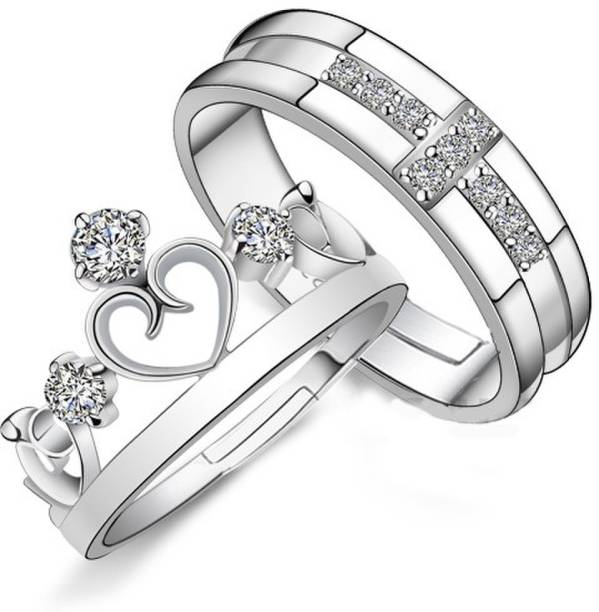 6178bd9334 Divastri Darling Heart Crown 925 Sterling Silver Plated Crystal Proposal  Couple Rings Metal Rhodium Plated Ring