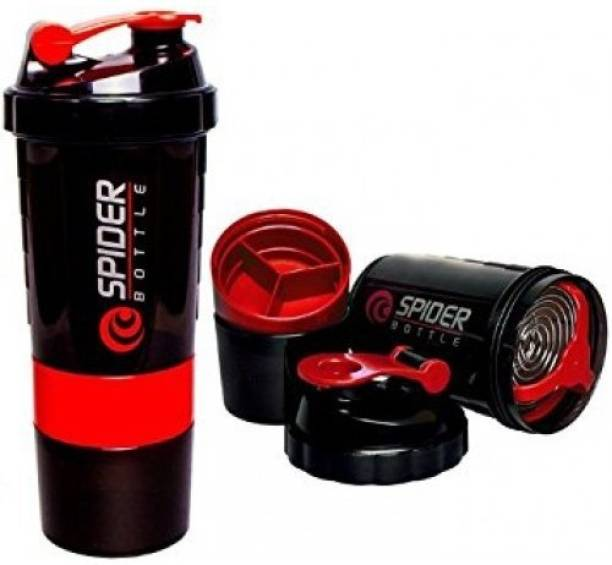 spider Smart Protein Shaker Bottle for gym with 2 Storage Extra Compartment 500 ml Shaker