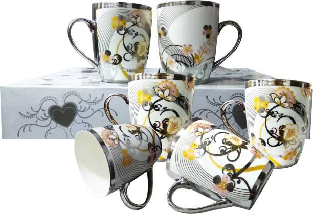 M megalite Very Attracctive & Beautiful Floral Design 6 Pcs Cups Ceramic