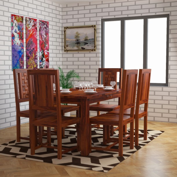 Home Edge Weave Sheesham Solid Wood 6 Seater Dining Set