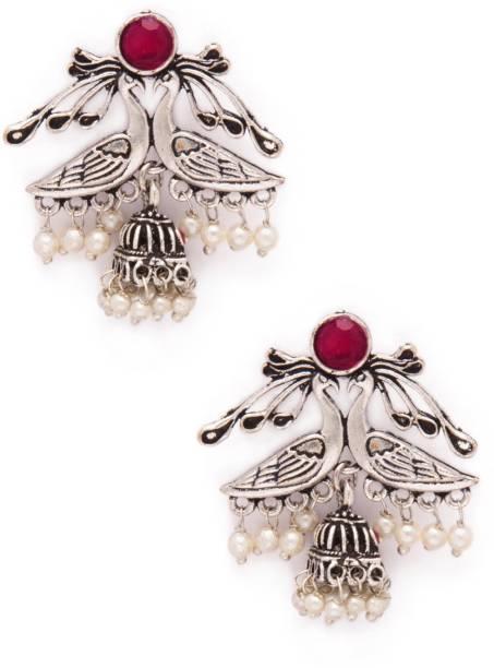 839bcf257 Rubans Oxidised Silver Plated Embellished With Faux Ruby Dual Peacock  Jhumka Earrings Metal Jhumki Earring
