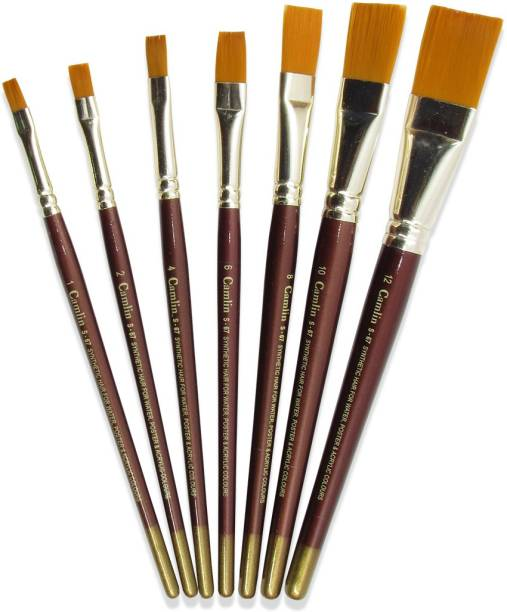 Camlin Series 67 - 7 Brushes Pack Flat Synthetic Gold