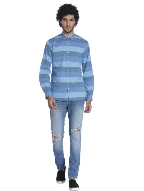26028d4bf Only   Sons Men Striped Casual Blue Shirt