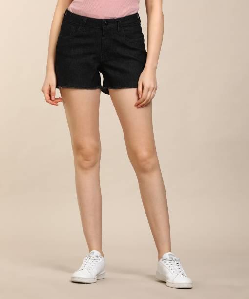 608e293ff33 Flying Machine Solid Women Black Denim Shorts