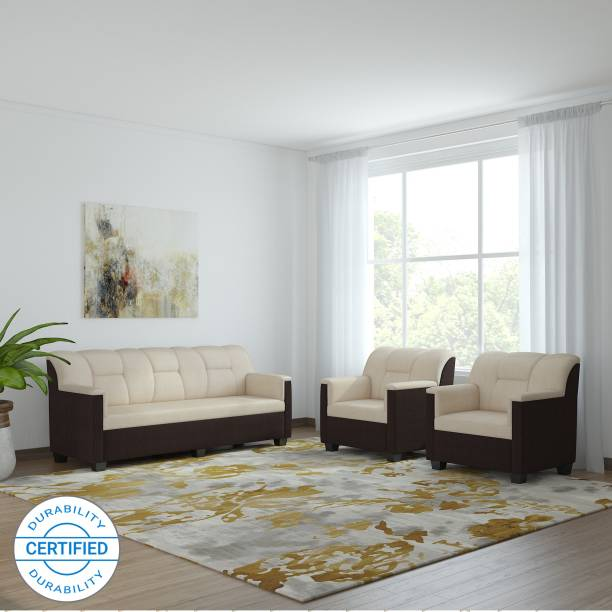 Bharat Lifestyle Star Fabric 3 + 1 + 1 Cream Brown Sofa Set