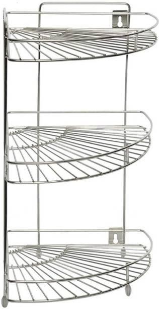 KUBER INDUSTRIES Stainless Steel Multipurpose Corner/Storage Rack (Silver) Stainless Steel Kitchen Trolley