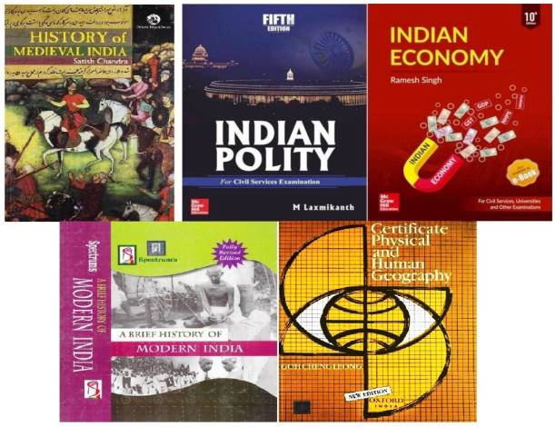 Top Selling Book For UPSC Exam Indian Economy By Ramesh Singh, Indian Polity By M Laxmikanth, A Brief History Of Modern India By Rajiv Ahir, History Of Medieval India By Satish Chandra, Certificate Physical And Human Geography By Goh Cheng Leong (5 Best Book For Civil Services Exam,IAS,IPS,IFS,IRS,PSC,UPSC,PRELIMS,MAINS,CSAT, (Papar Back, Ramesh Singh, M Laxmikanth, Satish Chandra, Rajiv Ahir , Goh ChengLeong) All 5 Book For UPSC Cracker Book