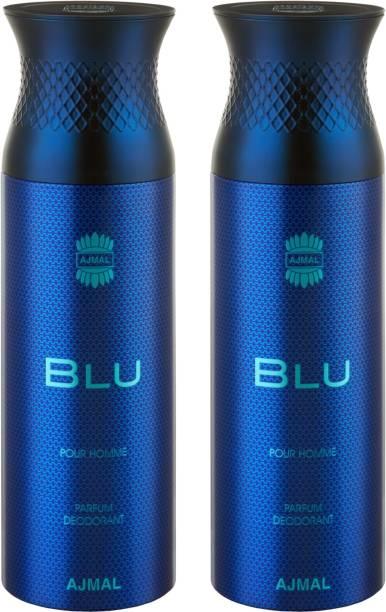 AJMAL Blu & Blu Deodorants + 2 Testers Deodorant Spray  -  For Men