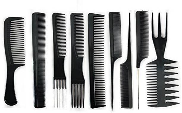 BOXO Set Of 9 Pcs Multipurpose Salon Hair Styling Hairdressing barber Combs Set For Men And Women, Black