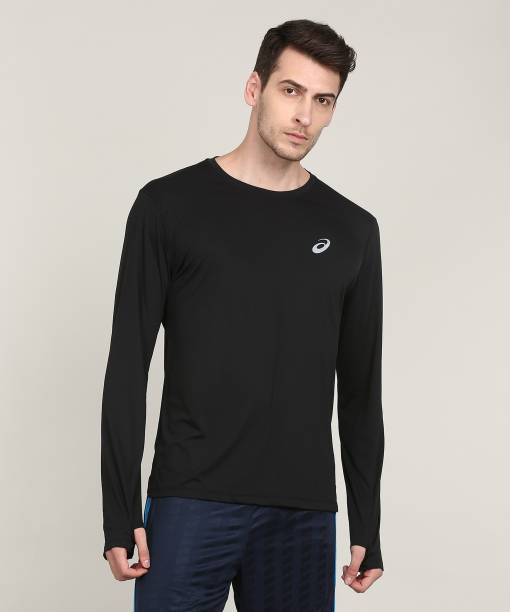 cb9fcd346d Asics Checkered Men Round Neck Black T-Shirt