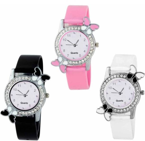 78f2c399b Crazy Look Beautiful Butterfly Style Colorful Combo Kids Watch 3 Stylish Women  Watch - For Girls