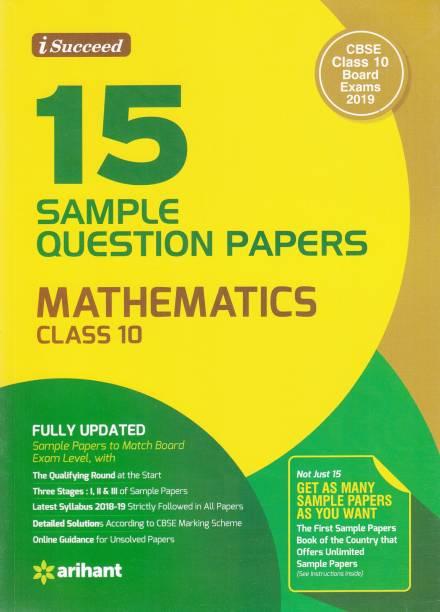 15 Sample Question Papers Mathematics Class 10 CBSE