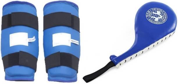 Akai ONE PAIR SHIN (ARM ) GUARD AND ONE RACKET FAN PAD Boxing Kit