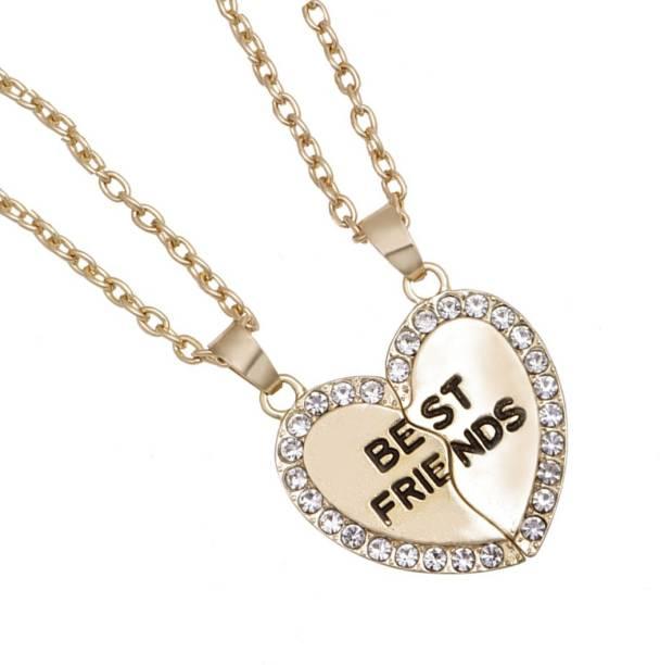 4498d52a37a52 Divastri Heart Locket Best Friends 2 PCS Combo Necklace Chain Pendant for  Girls Bestie Gift Gold