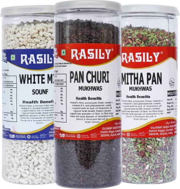 rasily Mitha Pan , White Mint & Pan churi Mukhwas Combo fennel seed, Madrasi, Mint, Mitha Pan, pan chura Mouth Freshener