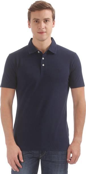 Gant Solid Men Polo Neck Blue T-Shirt