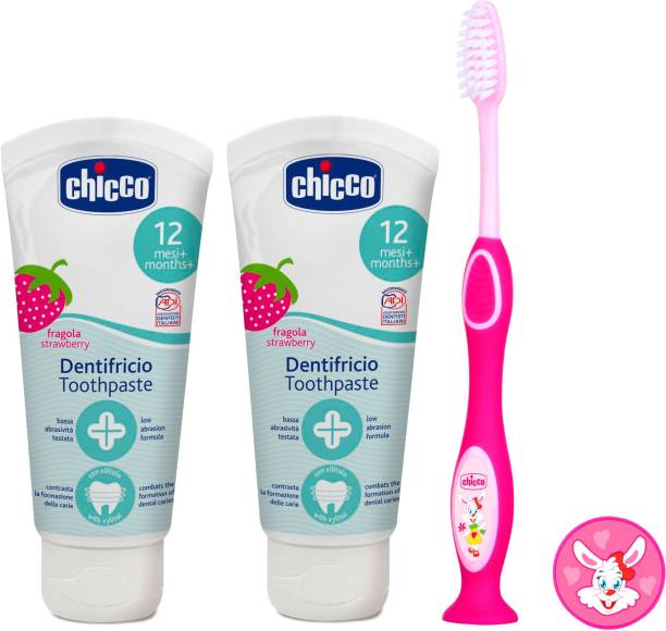 Chicco StrawBerry Toothpaste (6 m+), 50ml, Pack of 2 and Pink Tooth Brush