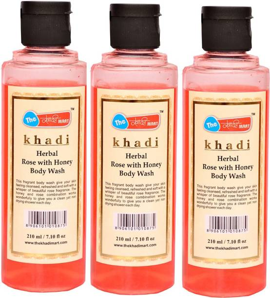 big sale 38526 d3e37 Khadi Mart Rose with Honey Body Wash - (Pack of 3) - 630 mL