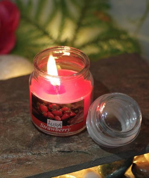 AuraDecor Strawberry Fragrance Cookie Jar Candle