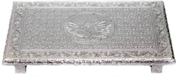 Neha Concoction Peacock Design Wooden Silver pooja chowki (18 x 12 INCH) - All purpose Wood All Purpose Chowki