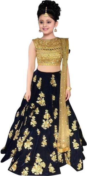 fee788d45 MF Retail Girl's Lehenga Choli Ethnic Wear Embroidered Lehenga, Choli and  Dupatta Set