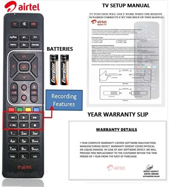 Airtel 100% Original HD Recording Universal (Works With All Tv) Airtel DTH Remote Controller