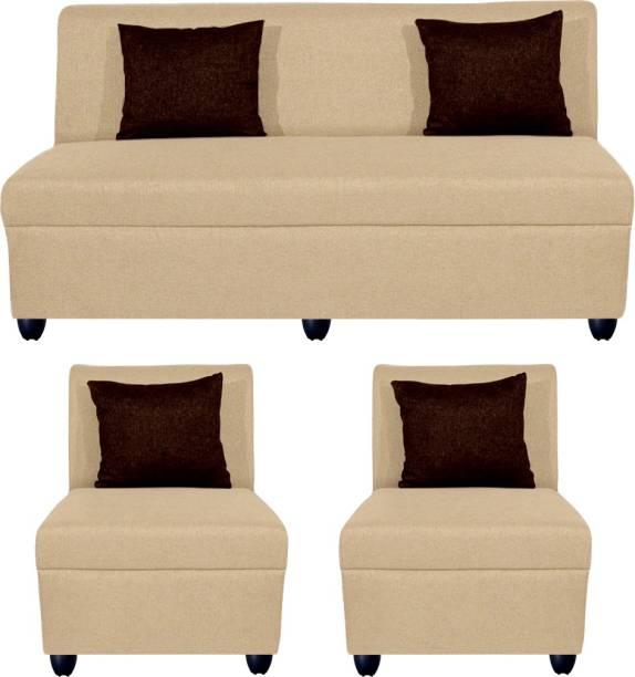 Bharat Lifestyle Delta Fabric 3 + 1 + 1 Cream Sofa Set
