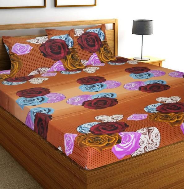Flipkart SmartBuy 104 TC Microfiber Double Floral Bedsheet