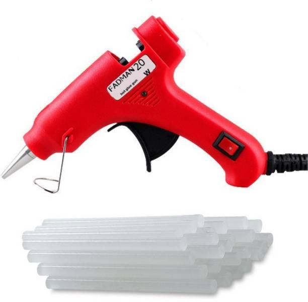 FADMAN RED MINI HOT MELT GLUE GUN 20 WATT (ON OFF SWITCH & INDICATOR) WITH 15 ADHESIVE HOT GLUE STICKS Standard Temperature Corded Glue Gun