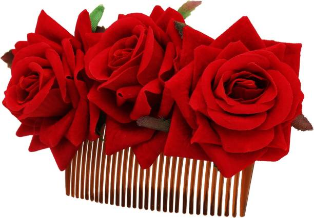 7b18fa98e5 Sanjog Rose Hair Clip, Wedding Hair Comb for Women, Red Flower Hair Pin  Party