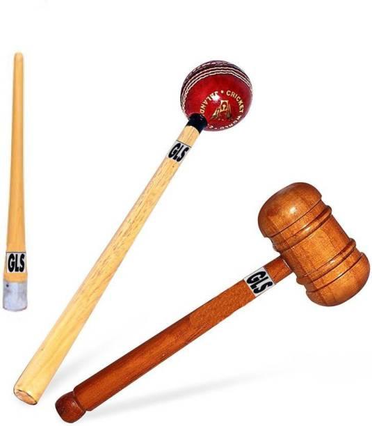 GLS DECO Polished 2 Cricket Bat Knocking Wood Hammer Mallet & 1 Grip Cone Gripper Wood Bat Mallet