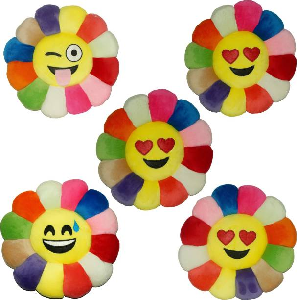 KUBER INDUSTRIES Polyester Fibre Smiley Cushion Pack of 5