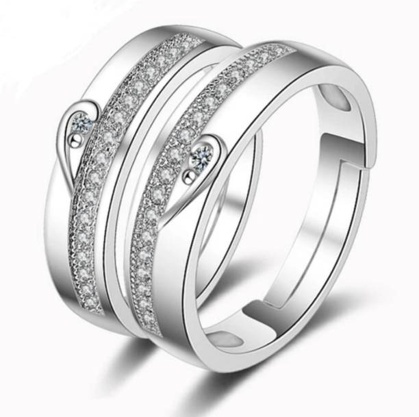 b4c1f022 MYKI Classic Cubic Zircon Heart Adjustable Couple Ring Sterling Silver  Swarovski Zirconia Sterling Silver Plated Ring