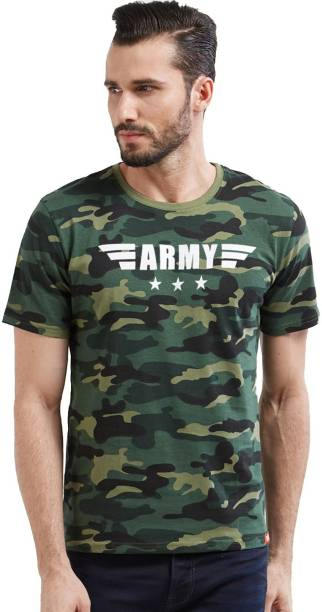 d653971bd7e7 Wear Your Opinion Military Camouflage Men Round Neck Multicolor T-Shirt