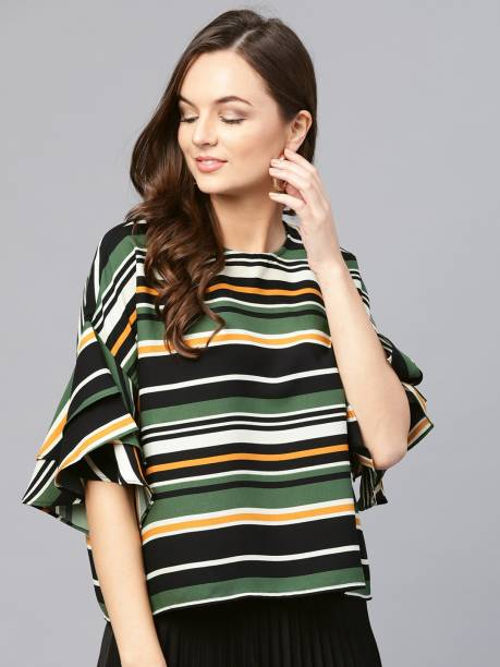 3dffc78d146719 Sassafras Casual Ruffled Sleeve Striped Women s Multicolor Top