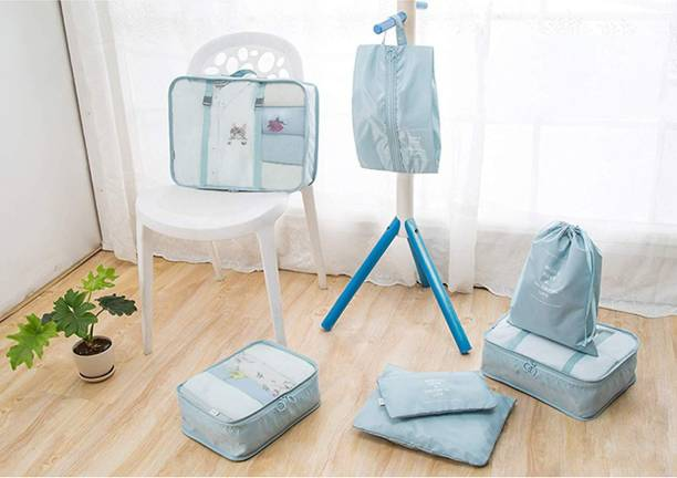 House of Quirk 7 Set Travel Organizer Bag 3 Packing Cubes + 3 Pouches + 1