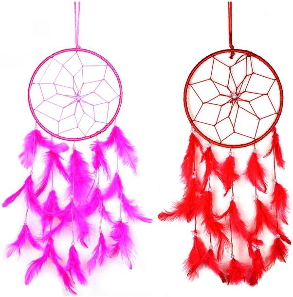 CRYSTU Single Round Dream Catcher Wall Hanging Dream Catcher for Attract Positive Dreams Protect Sleeping People Children From Bad Dreams and Nightmares Pack of 2 Silk Dream Catcher